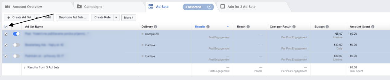 facebook ad select all